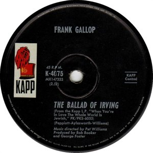 The Ballad of Irving by Frank Gallop